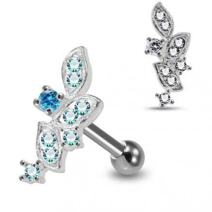 925 Sterling Silver CZ Jeweled Floral Cartilage Tragus Piercing Ear Stud