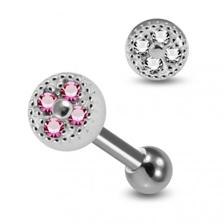 925 Sterling Silver Micro Jeweled Round Dotted pattern Cartilage Tragus Piercing Ear Stud