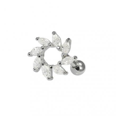 925 Sterling Silver Clear CZ Jeweled Swirl Flower Cartilage Tragus Piercing Ear Stud