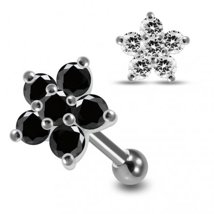 925 Sterling Silver CZ Jeweled  Flower Cartilage Tragus Piercing Ear Stud