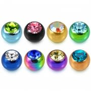 14G Surgical Steel Anodized CZ Jeweled Stone Ball Accessories