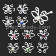 925 Sterling Silver Butterlfy with Geniune Cubic Zirconia Nose Bone Stud