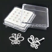 925 Sterling Silver Butterlfy with Geniune Cubic Zirconia Nose Bone Stud in Box