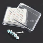 925 Sterling Silver Five Stone Geniune Cubic Zirconia Nose Bone Stud in Box