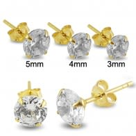 14K Solid Yellow Gold CZ Ear Stud