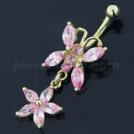 14K Gold  Jeweled Butterfly Dangling Navel Ring