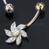 14K Gold Multi Stones Flower Shape Banana Belly Ring