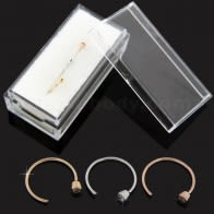 14K Gold Bezel set Jeweled Open Hoop Nose Ring in Box