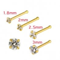 20G 9K Yellow Gold CZ Prong Setting Nose Stud
