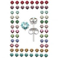 Silver Earring With 4mm Birthstone Tray Set