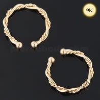 9K Yellow Gold Twisted Circular Septum Ring