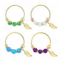 14K Yellow Gold Opal Stones with Leaf Hoop Nose Ring