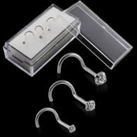 9K Solid White Gold Round CZ Jeweled Nose Screw in Box