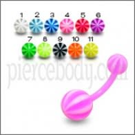 Acrylic UV Navel Banana Bar Ring With UV Ball