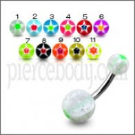 SS 8mm Belly Banana Bar Ring With UV Ball