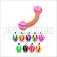Multi Color UV Eyebrow Banana Ring with Mix Color UV Balls