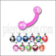 Eyebrow Piercing Banana Barbell Ultra UV Glitter Balls Spheres