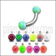 SS Eyebrow Banana Ring with Multi Color Circle UV Balls Body Jewelry