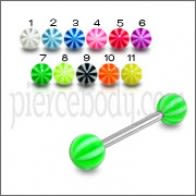 SS Tongue Barbell with Beach Ball UV Acrylic Rings