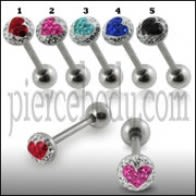 SS Tongue Barbell with PINK HEART Epoxy covered crystals