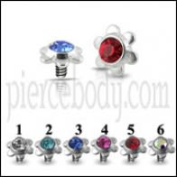 Flower Jeweled Dermal Anchor Tops | Dermal Anchors