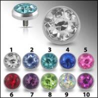 Crystal stone Dermal Anchor Top | Dermal Anchors