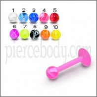 UV Labret With UV Fancy Balls Body Jewelry Ring