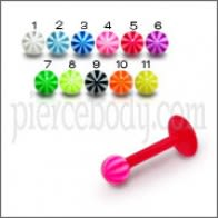 UV Labret With UV Fancy Multi Color Body Piercing Balls