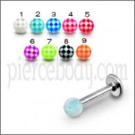 SS Labret With Suction Hold Illusion UV Design Spiral Ball Tongue Stud
