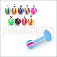 UV Labret With UV Mix Color Spiral Fancy Ball Body Jewelry