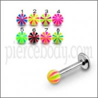 SS Labret With Acrylic UV Multi Fancy Balls