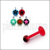 UV Labret With UV Fancy Star Print Balls