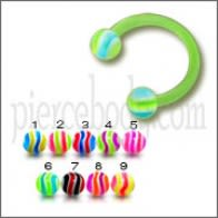 Green UV Horseshoe Ring Eyebrow Bar Tragus Circular Barbell