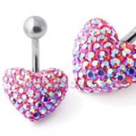 Red Crystal Stone Cherry Heart With Curved Bar Belly Ring
