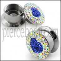 SS Screw Fit Royal Blue Crystal Heart Ear Flesh Tunnel