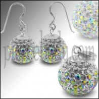 White Crystal stone Studded Earring Pendant Silver jewlery Set
