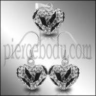 925 Sterling Silver Crystal stone Studded HEART SHAPE Jewelry Set