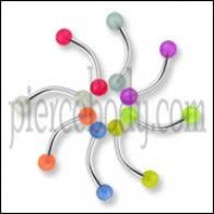 316 Surgical steel Banana with UV Glow Balls