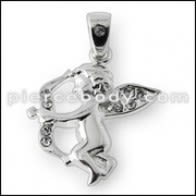 925 Sterling Silver Jeweled Love Angel Pendant
