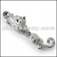925 Sterling Silver Jeweled Dog Pendant