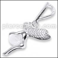 925 Sterling Silver Jeweled Flying Angel Pendant