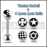 Tongue Barbell with 4 Free Star Logo Ball