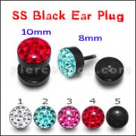 Blackline Red Crystal stone Ear Plug