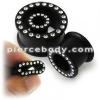 Multi Jeweled Black Silicone Ear Plug