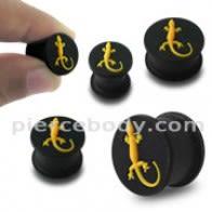 Embossed Yellow Gecko Silicone Ear Plug