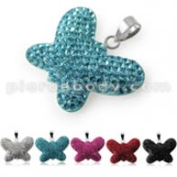 Multi Crystal stones Butterfly Pendent