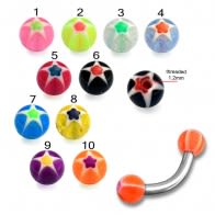 SS Eyebrow Banana with Mix Color UV Star Print Balls Body Jewelry
