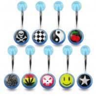 316L Surgical Steel Navel Ring With Floral Printed UV Balls