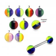 SS Tongue Barbell with UV Rasta Balls