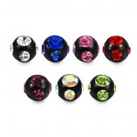 16G Surgical Steel Black Anodized Multi Jeweled Stones Ball Accessories